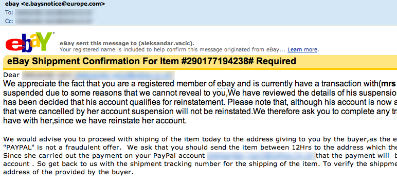 Forged eBay message. Check he email header from where it is sent