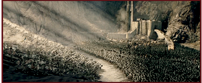Fantastic scene of Rohirrim rush