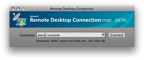 RDC login dialog, with /console option added