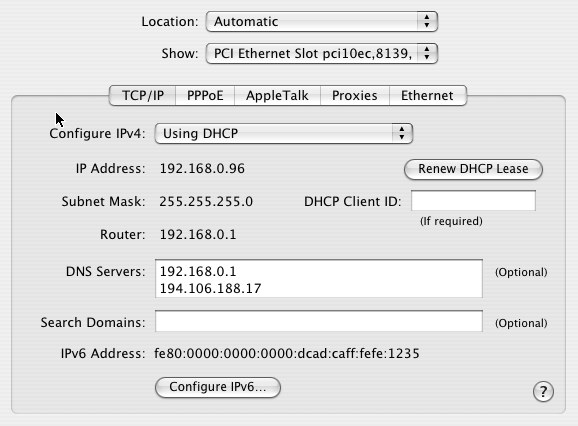 Mac Network preferences setup