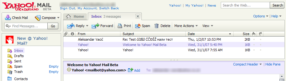 Yahoo! Mail interface